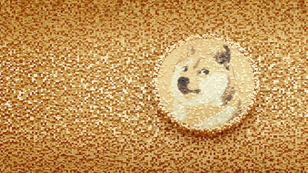 Logo dogecoin sur cube pixel abstract background concept crytocurrency 3d illustration