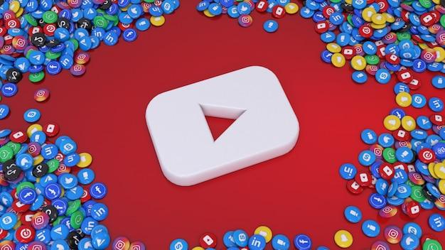 Logo entouré de nombreuses pilules brillantes de réseaux sociaux les plus populaires sur rouge