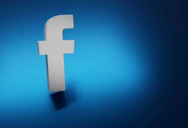 Logo facebook en blanc et bleu isolé en arrière-plan, le tout en 3d.