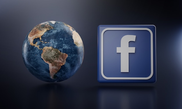 Logo facebook à côté de earth render.