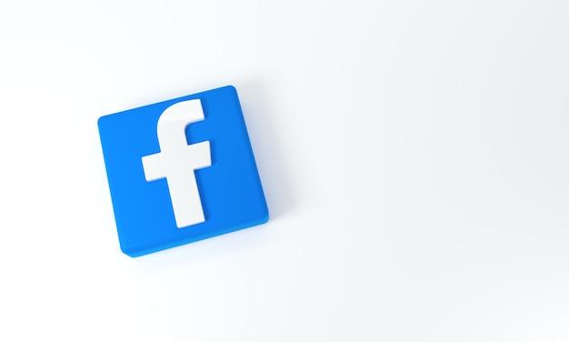 Logo facebook avec un espace pour le texte et les graphiques sur fond blanc. rendu 3d.