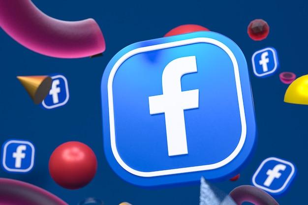 Logo facebook sur fond de géométrie abstraite
