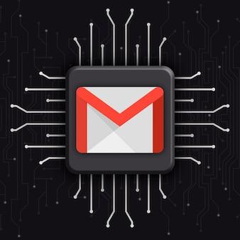 Logo gmail sur fond de technologie cpu réaliste 3d