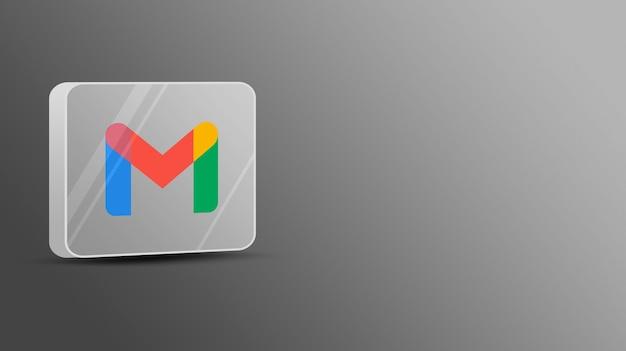 Logo gmail sur une plate-forme en verre 3d
