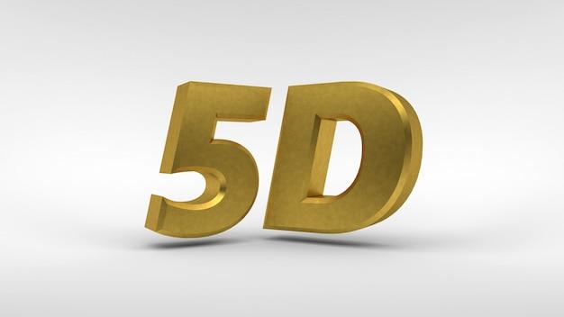 Logo gold 5d isolé sur blanc avec effet de reflet
