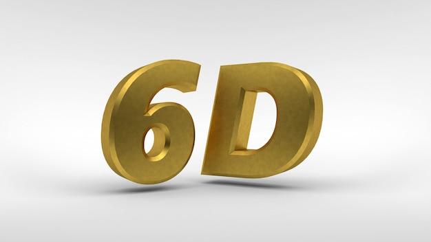 Logo gold 6d isolé sur blanc avec effet de reflet
