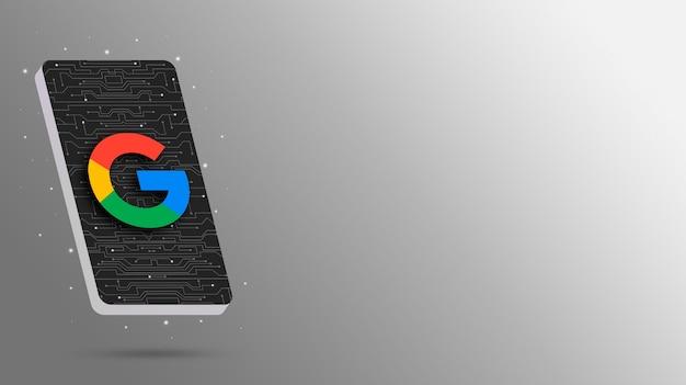 Logo google sur l'affichage du téléphone technologique rendu 3d