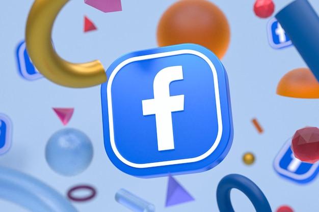 Logo ig facebook sur fond géométrique abstrait