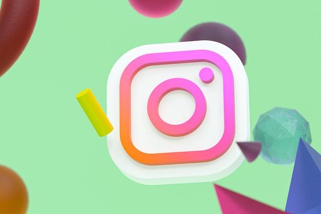 Logo Ig Instagram Sur Fond De Géométrie Abstraite Photo Premium