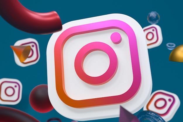 Logo ig instagram sur fond géométrique abstrait