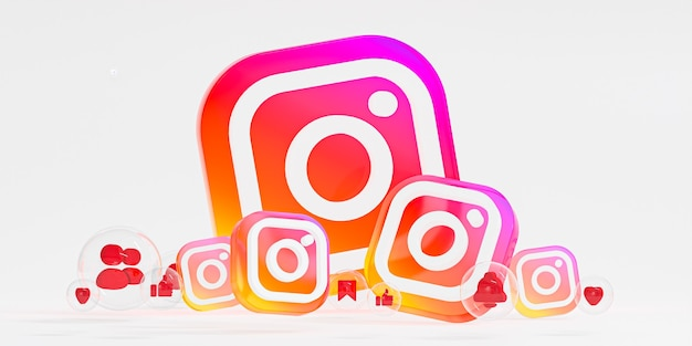 Logo ig en verre acrylique instagram et icônes de médias sociaux avec espace de copie