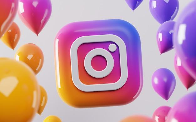Logo instagram 3d avec des ballons brillants