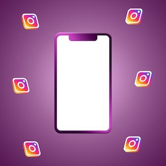 Logo instagram autour du rendu 3d de l'écran du téléphone