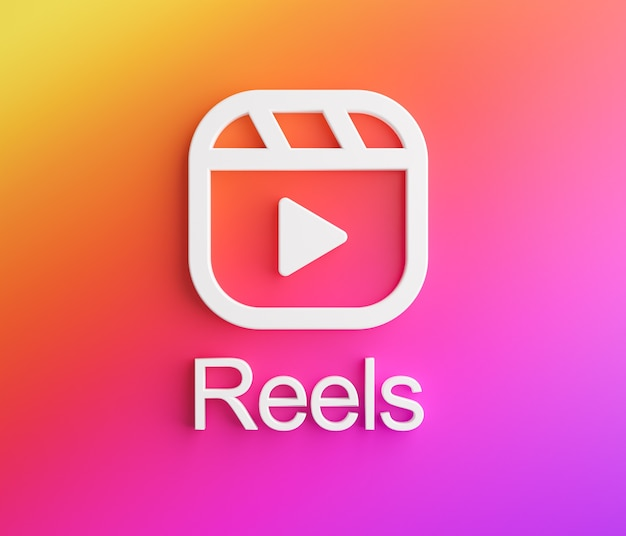 Logo instagram de bobines. nouvelle fonctionnalité de rendu 3d de l'application de médias sociaux