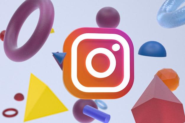 Logo instagram sur fond de géométrie abstraite