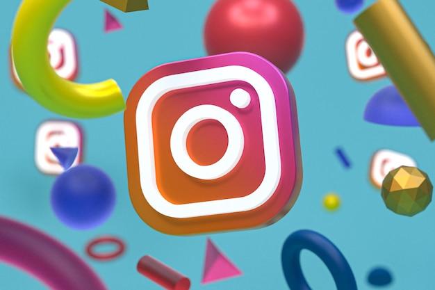 Logo Instagram Sur Fond De Géométrie Abstraite Photo Premium