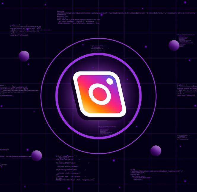 Logo instagram sur fond de technologie réaliste