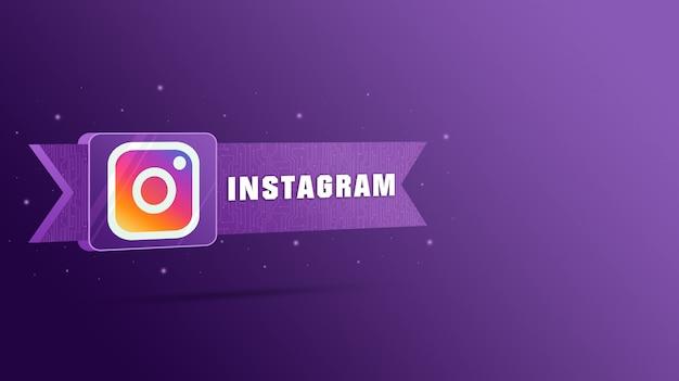 Logo instagram avec l'inscription sur la plaque technologique 3d