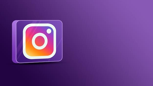 Logo instagram sur une plate-forme en verre 3d