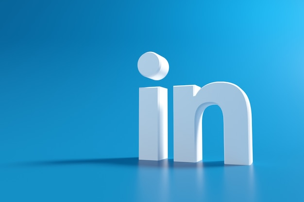 Logo linkedin 3d, application de médias sociaux. rendu 3d