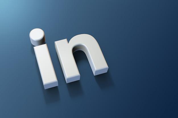 Logo linkedin 3d minimaliste avec espace vide