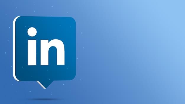 Logo linkedin sur bulle de dialogue 3d