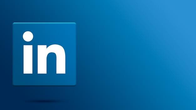 Logo linkedin sur plateforme 3d
