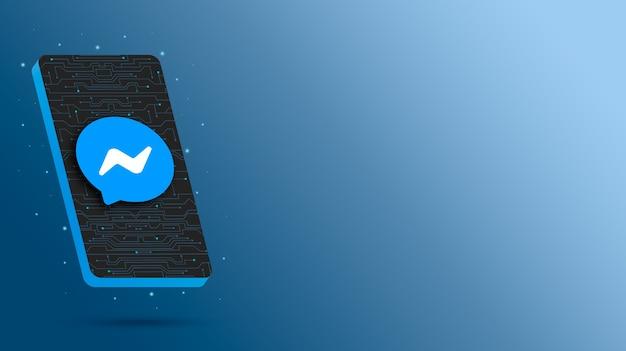 Logo messenger sur l'affichage du téléphone technologique rendu 3d