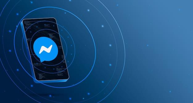 Logo messenger sur téléphone avec affichage technologique, rendu 3d intelligent