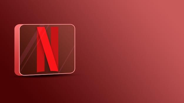 Logo netflix sur une plate-forme en verre 3d