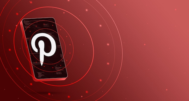 Logo pinterest sur téléphone avec affichage technologique, rendu 3d intelligent