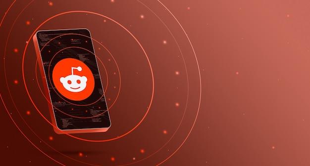 Logo reddit sur téléphone avec rendu 3d d'affichage de la technologie