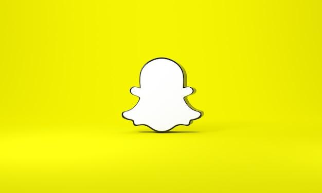 Logo snapchat avec un espace pour le texte et les graphiques. fond jaune. rendu 3d.