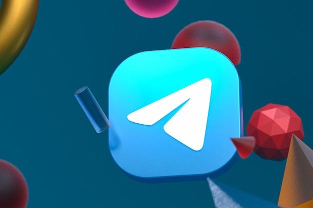 Logo de télégramme sur fond de géométrie abstraite