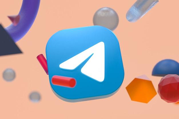 Logo de télégramme sur fond géométrique abstrait