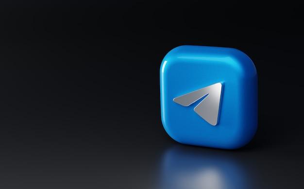 Logo de télégramme métallique brillant 3d