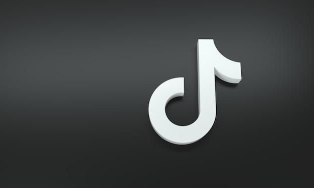 Logo tik tok avec un espace pour le texte et les graphiques sur fond noir. rendu 3d.