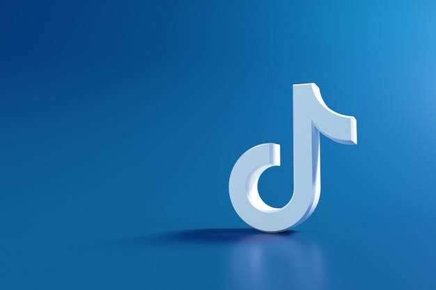 Logo tiktok 3d, application de médias sociaux. rendu 3d
