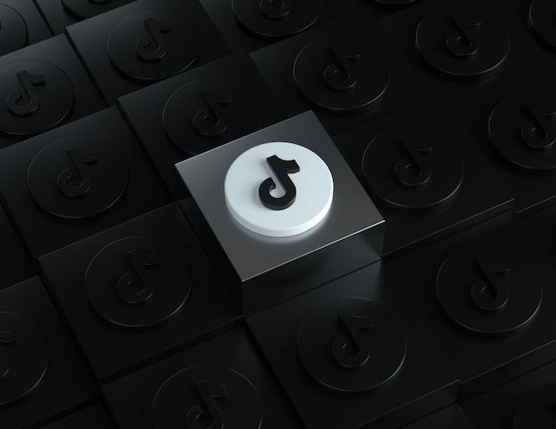 Logo tiktok 3d sur un support argenté avec des logos sombres en arrière-plan