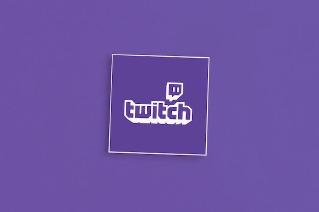 Logo twitch sur fond rose