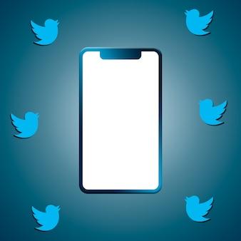 Logo twitter autour du rendu 3d de l'écran du téléphone
