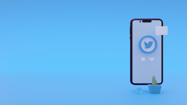 Logo twitter moderne pour les publicités sur les réseaux sociaux avec modèle de rendu 3d pour smartphone
