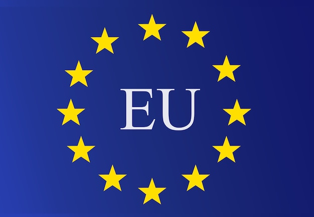 Logo de l'union européenne drapeau de l'union européenne avec des lettres de l'ue au milieu