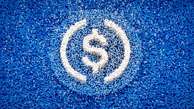 Logo usdc sur cube pixel abstraire concept d'arrière-plan cryto-monnaie illustration 3d