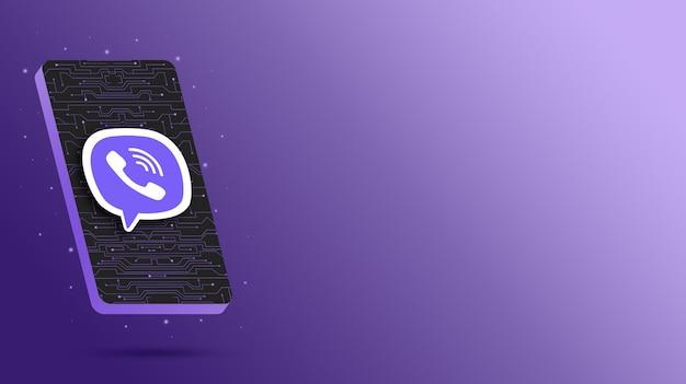 Logo viber sur écran de téléphone technologique rendu 3d