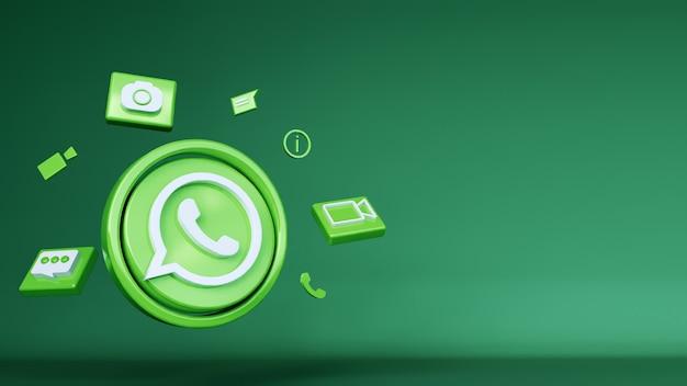 Logo whatsapp 3d avec fond vert