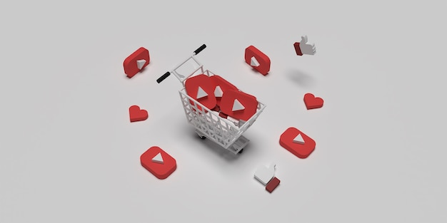 Logo youtube 3d sur panier comme concept pour concept de marketing créatif avec surface blanche rendue