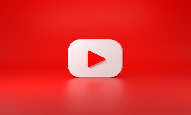 Logo youtube avec un espace pour le texte et les graphiques. fond rouge. rendu 3d.