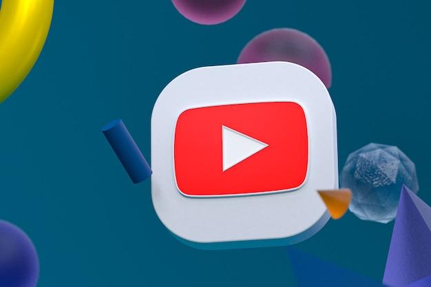 Logo youtube sur fond géométrique abstrait