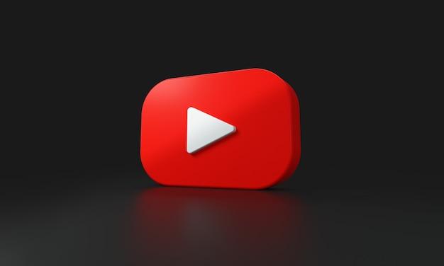 Logo youtube sur fond noir. rendu 3d.